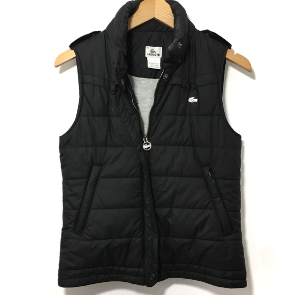 Lacoste Jackets   Blazers - Lacoste Women s Black Quilted Puffer Vest Jacket db04fa8dab
